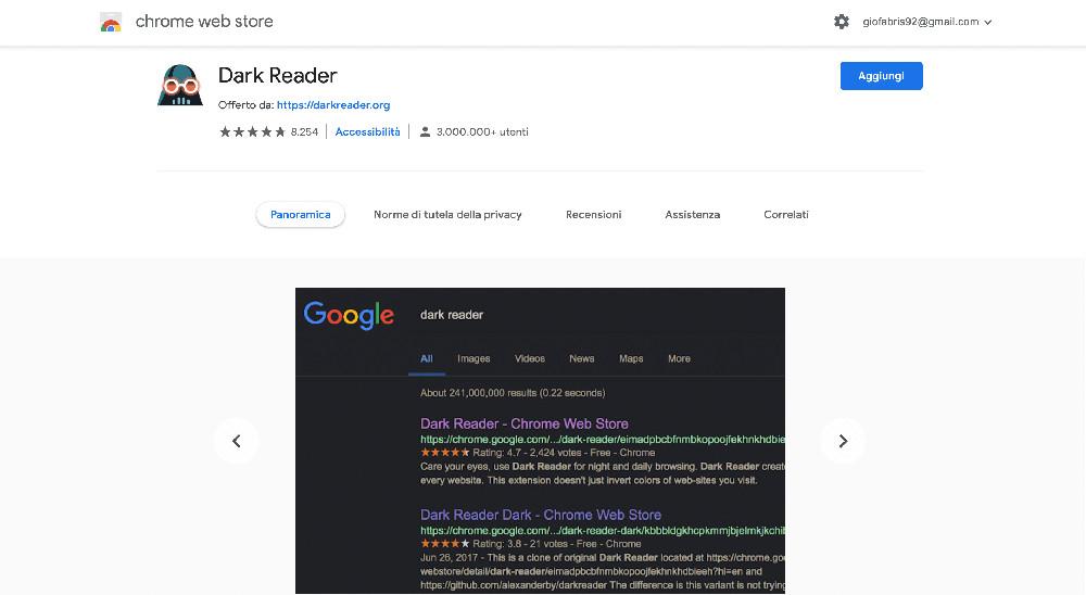 Estensione per Chrome Dark Reader