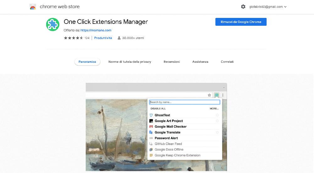 Estensione per Chrome One Click Extension