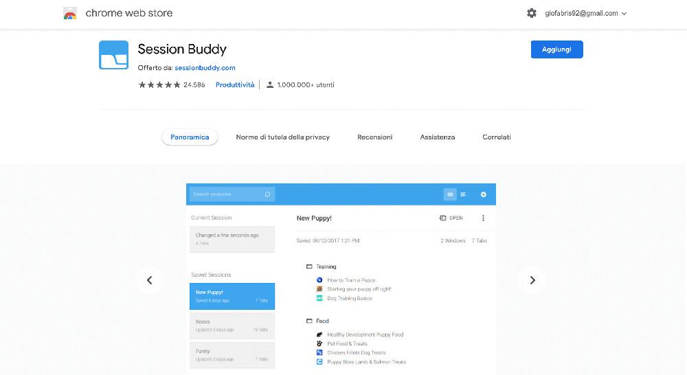 Estensione per Chrome Session Buddy