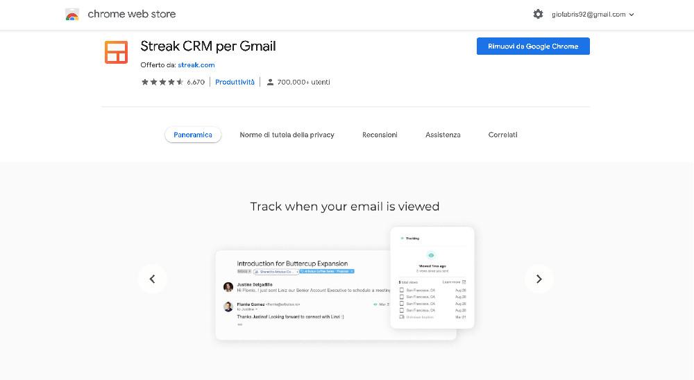 Estensione per Chrome Streak
