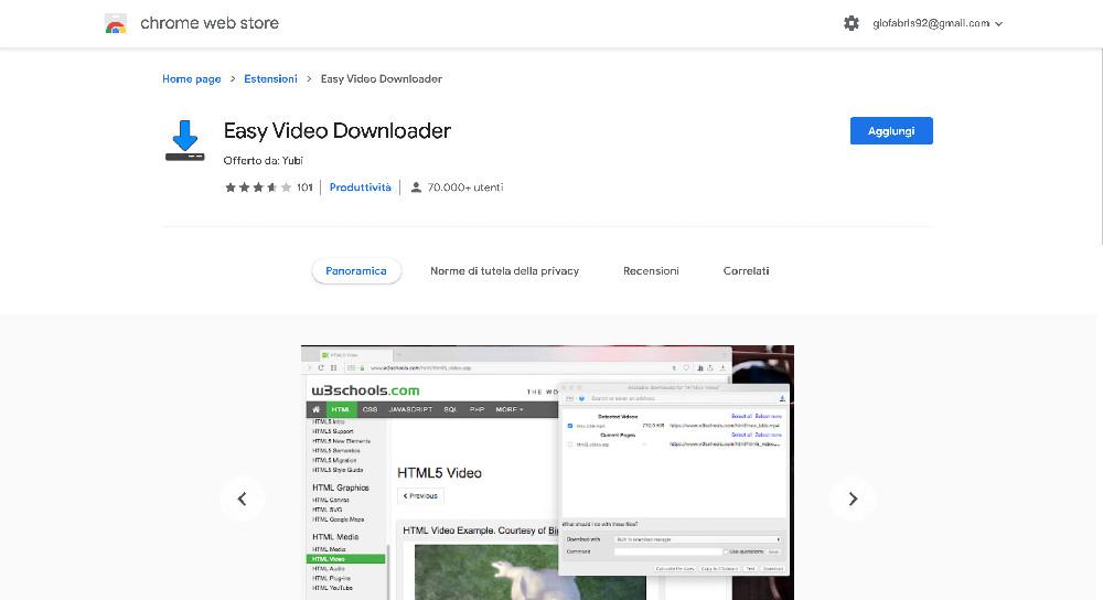 Easy Video Downloader estensione Google Chrome per scaricare video