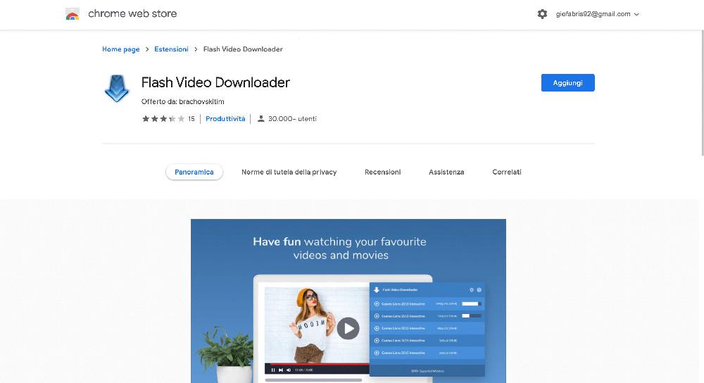 Flash Video Downloader estensione Google Chrome per scaricare video