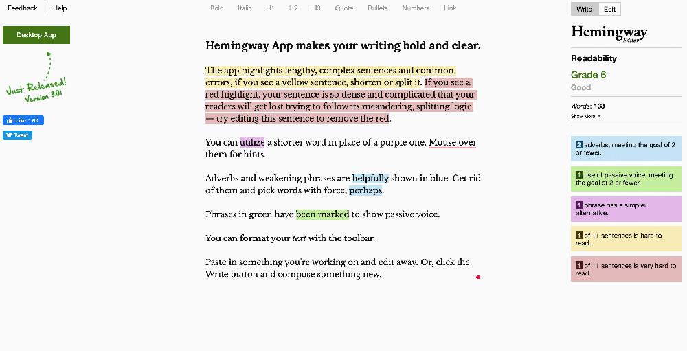 Hemingway App e gli strumenti di controllo grammaticale