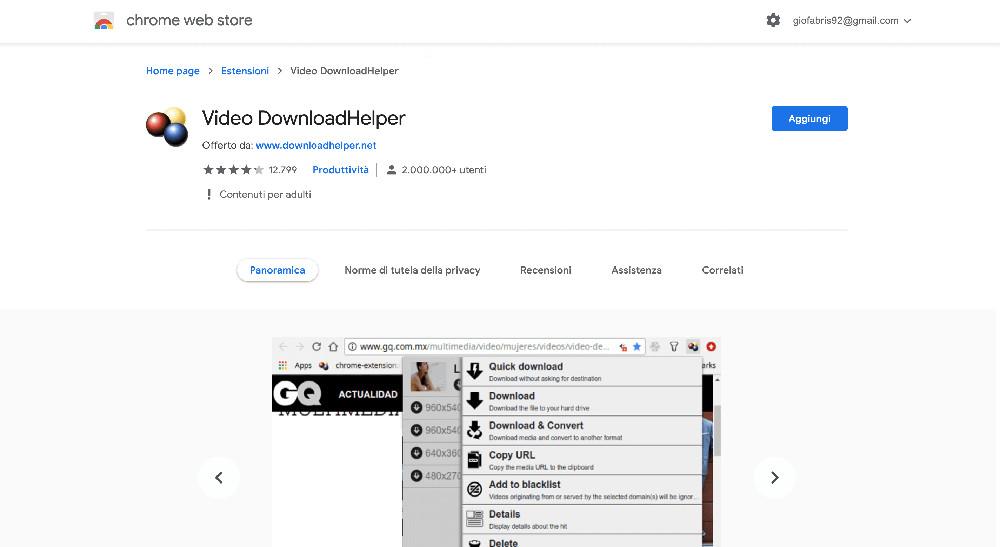 Video Downloader Helper estensione Google Chrome per scaricare video