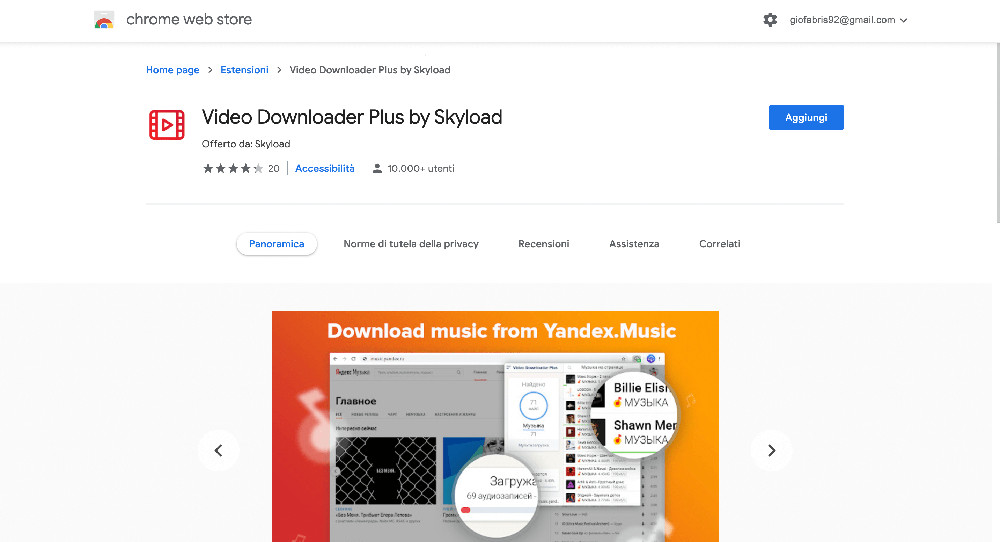 Video Downloader Plus by Skyload estensione Google Chrome per scaricare video