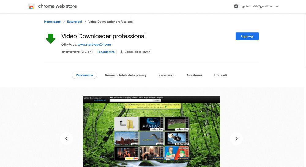 Video Downloader Professional estensione Google Chrome per scaricare video