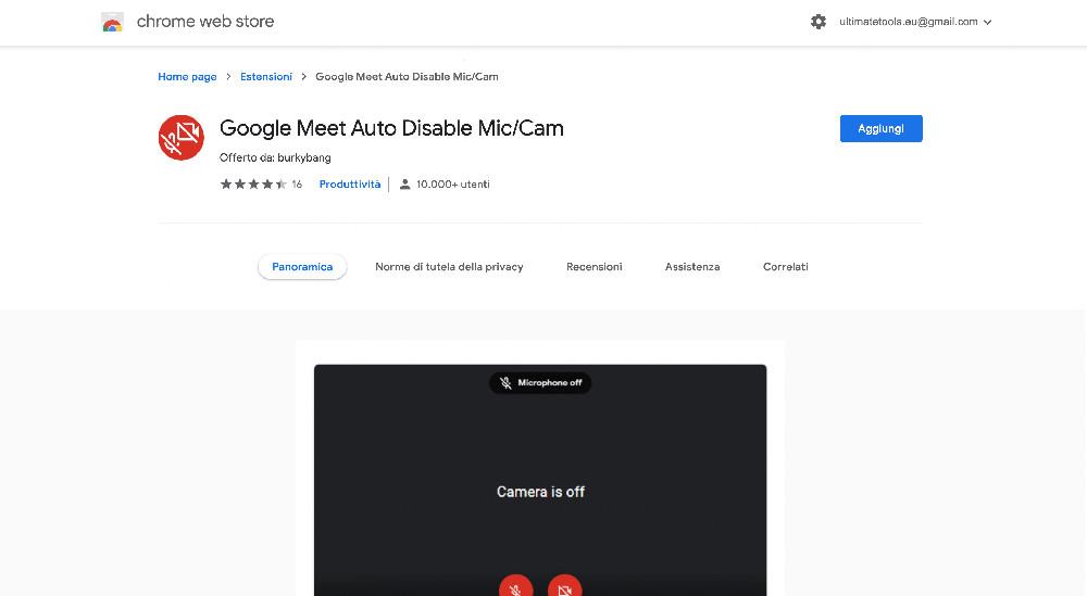 Google Meet Auto Disable Cam estensione Chrome per Google Meet