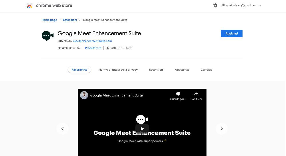 Google Meet Enhancement Suite estensione Chrome per Google Meet