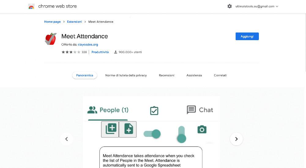 Meet Attendance estensione Chrome per Google Meet
