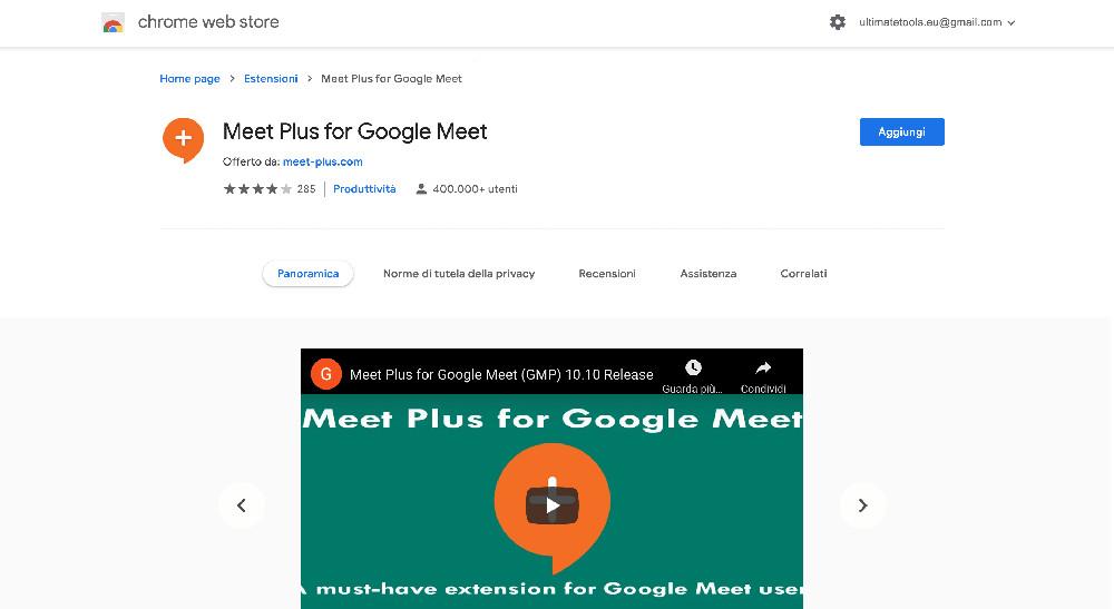 Meet Plus for Google Meet estensione Chrome per Google Meet