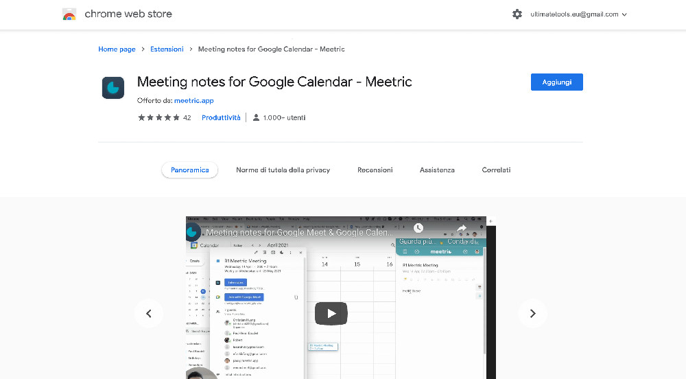Meeting Notes for Google Calendar estensione Chrome per Google Meet