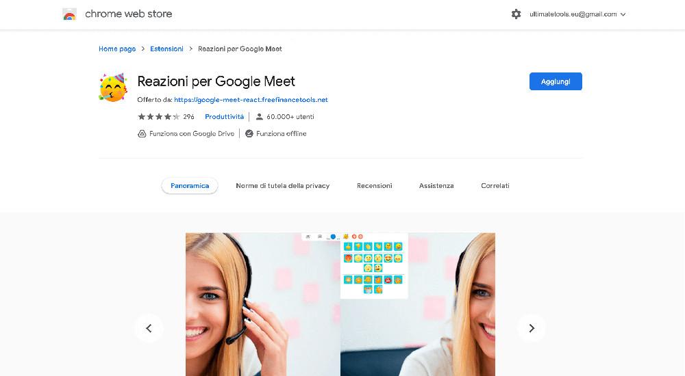 Reazioni per Google Meet estensione Chrome per Google Meet