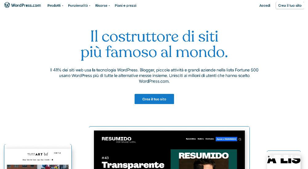 Wordpress e i migliori website builder