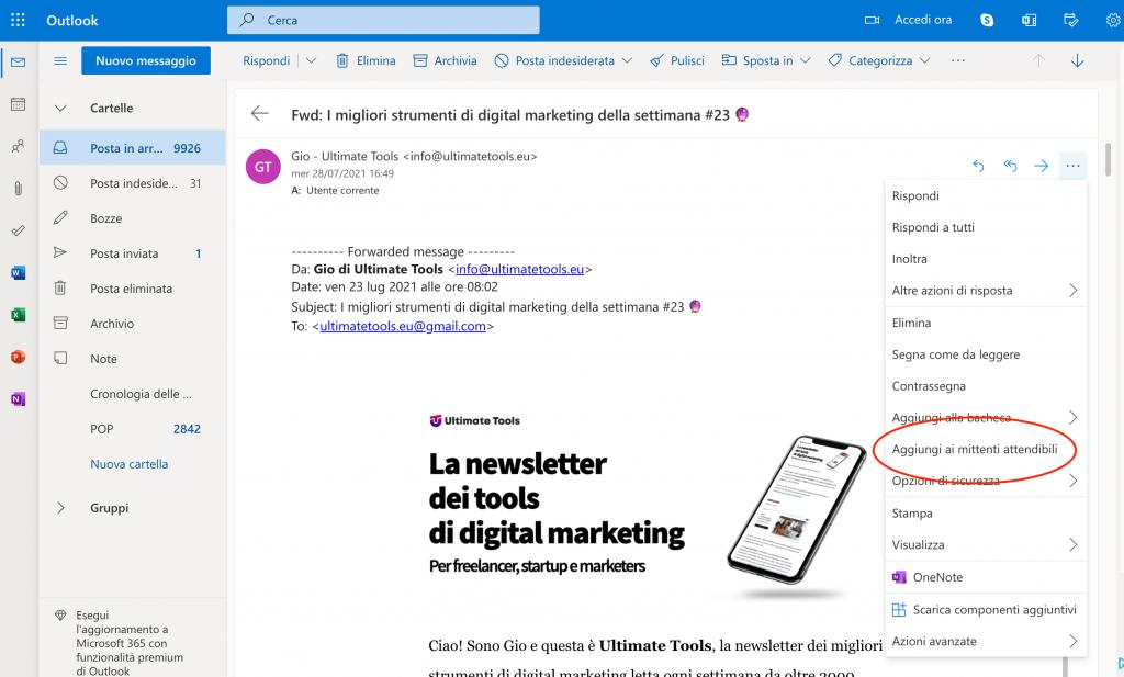 Salva un contatto sulla rubrica su Outlook e Hotmail