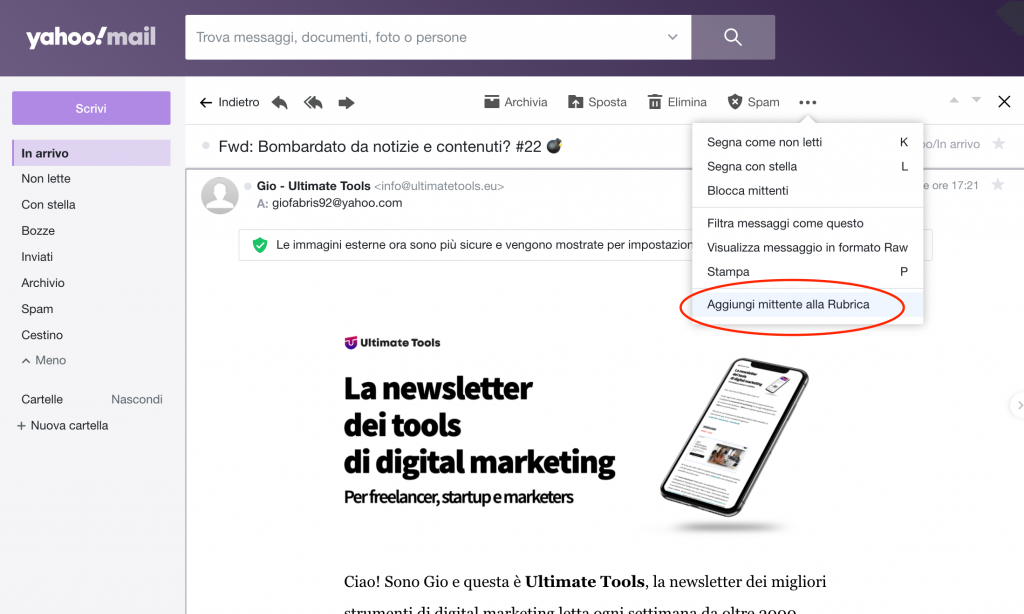 Salva un contatto sulla rubrica su Yahoo