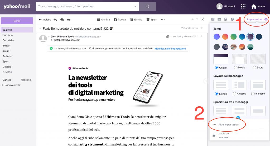 Salvare una mail su Yahoo